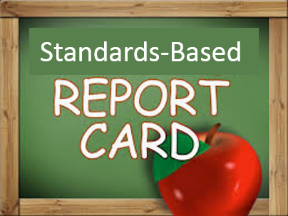 Report Cards shown on chalkboard