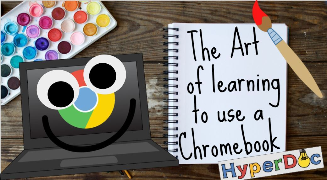 cartoon chromebook with paint brush and paints