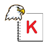 Ellsworth Eagle on notepad with K
