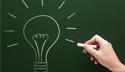 Idea light bulb on chalk board